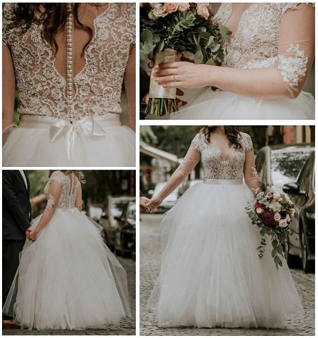 932a305550 Eladóvá vált Tarjáni Andrea által tervezett és készített (ekrü/tört fehér  színű) menyasszonyi ruhám. Felső része 3/4-es ujjú testszínű tüll ...
